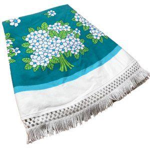 Vintage Blue Floral Fringed Round Tablecloth